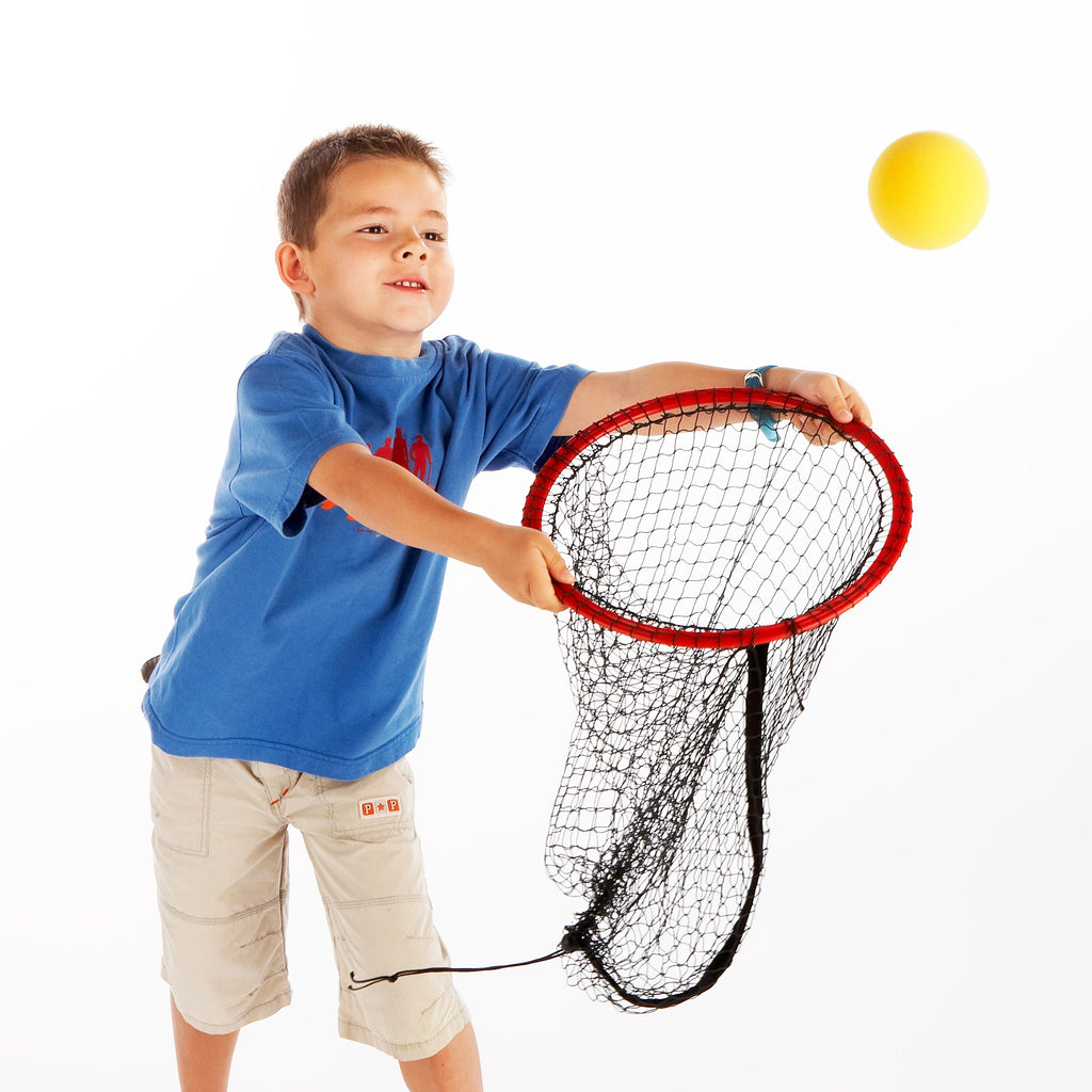 early Years Coaching Aid for hand-eye coordination & ball skills development. Easy Catch Net for pair catching & aiming games.