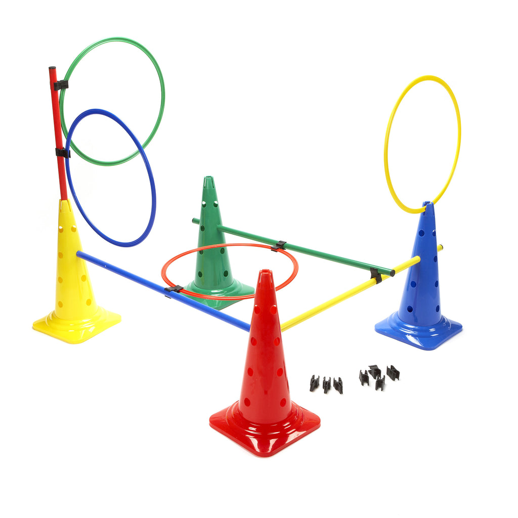 Activity targets, hurdles & targets can all be created with this versatile set of cones, hoops & hurdles using flat clips.