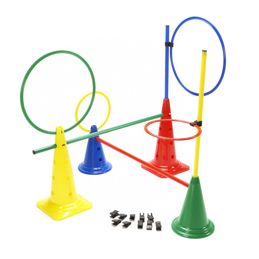 Mixed set of cones, poles & hoops to create your own coaching aids - hurdles, targets & stations.
