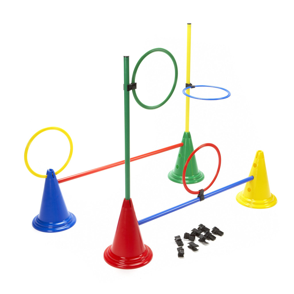Flat hoops, cones, poles & clips in a set. Create-a-Station.