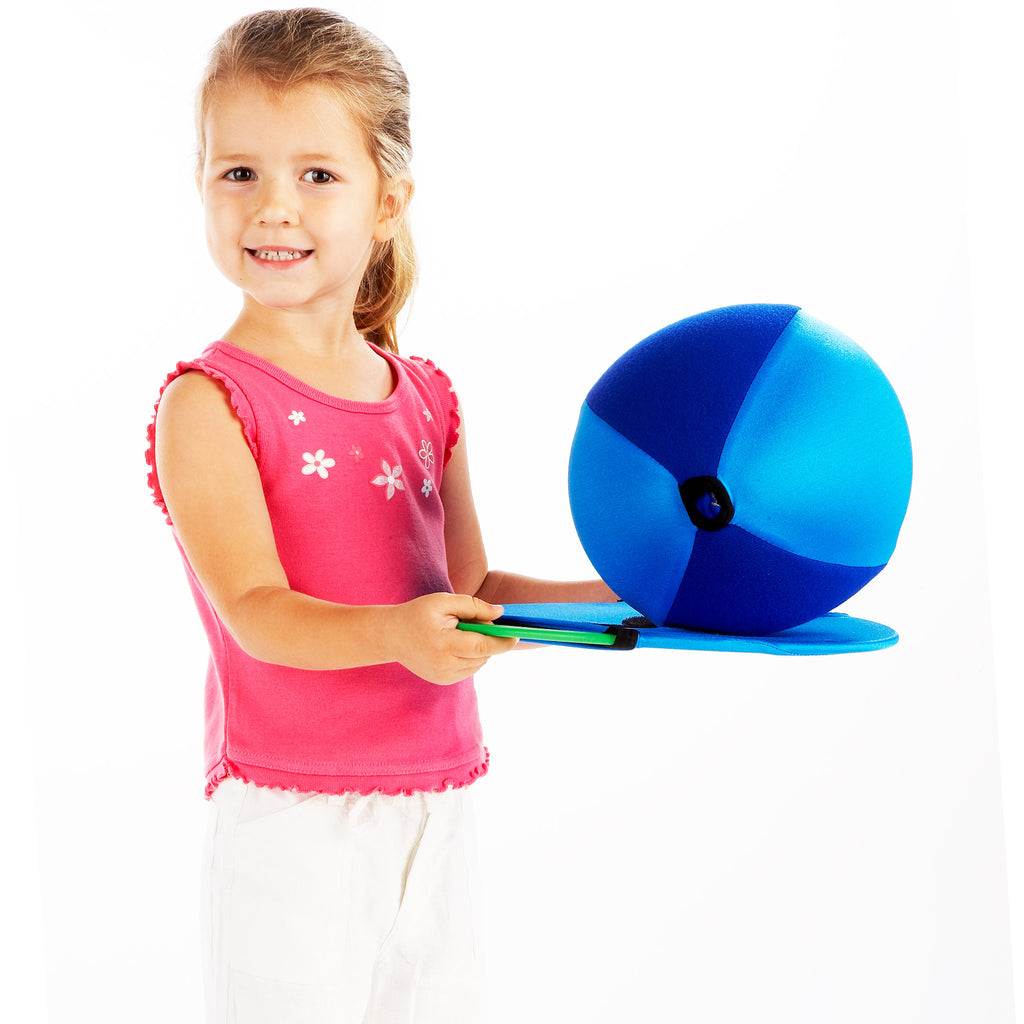 Zsig's Balloon ball has panels which stick to an Easy Catch Happy Face, & give young children more chance of a successful catch. Here, Nina has caught the Balloon Ball.