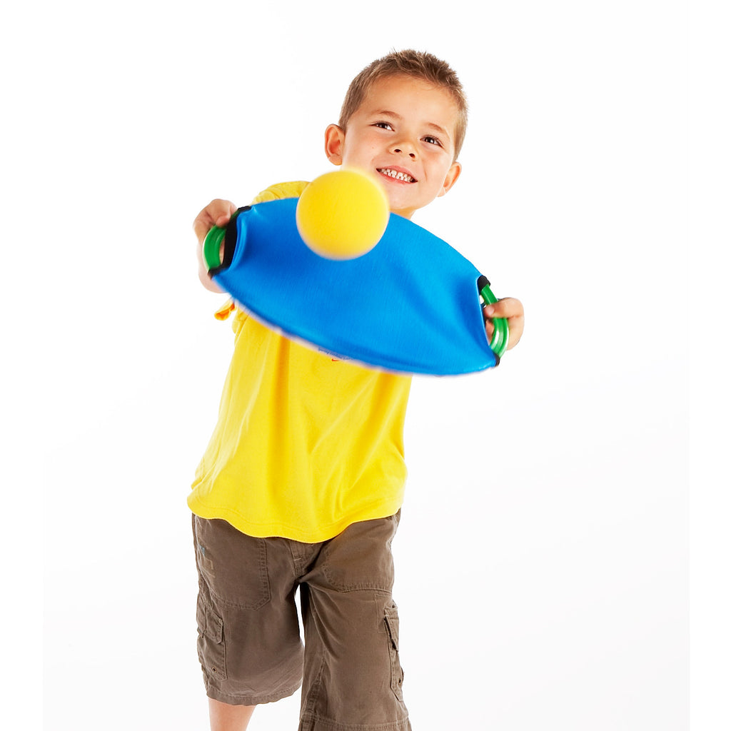 Volleying a sponge ball using the harder side of the Easy Catch Happy Face. Early Years ball Skills training.