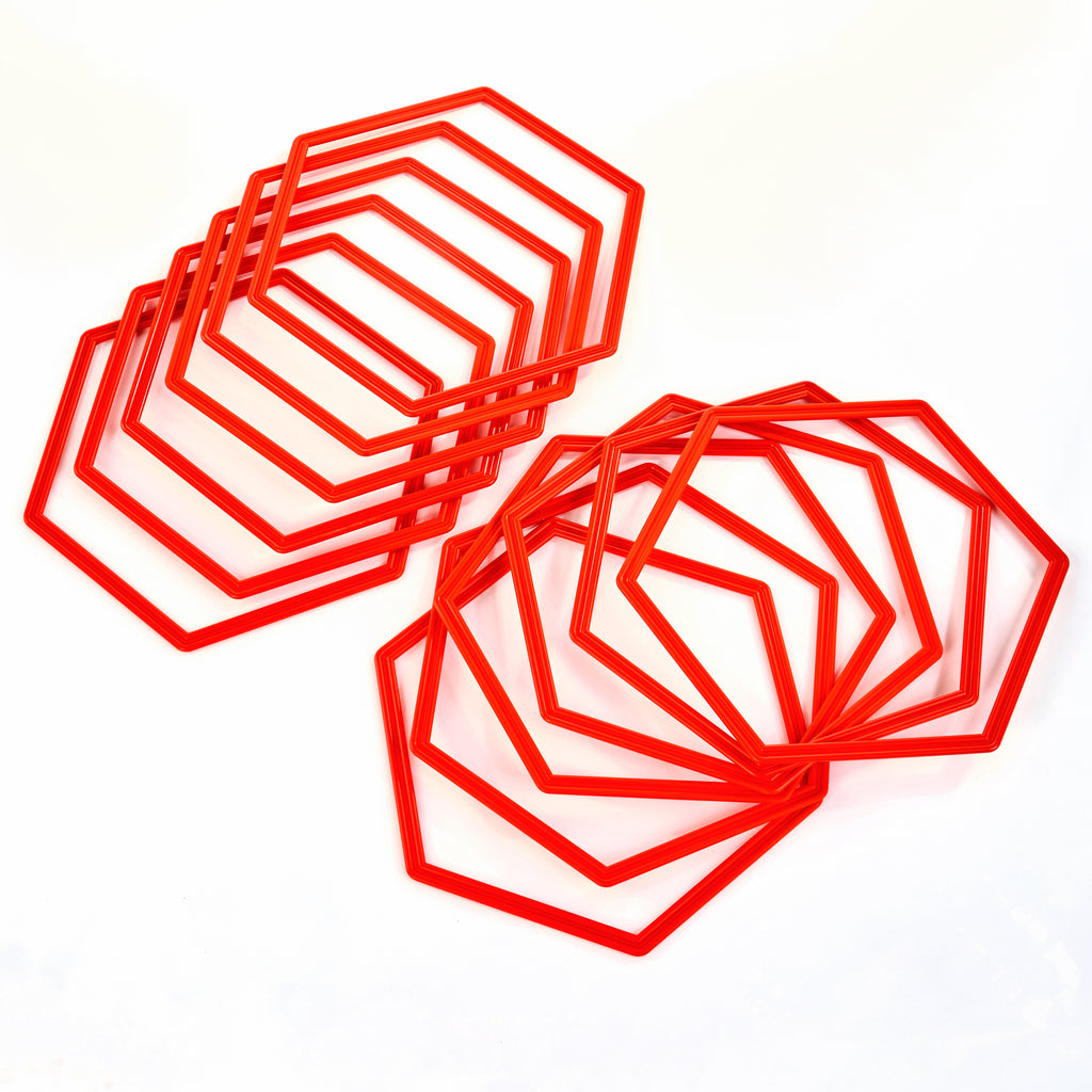 Hexahoops - set of 12 red hoops