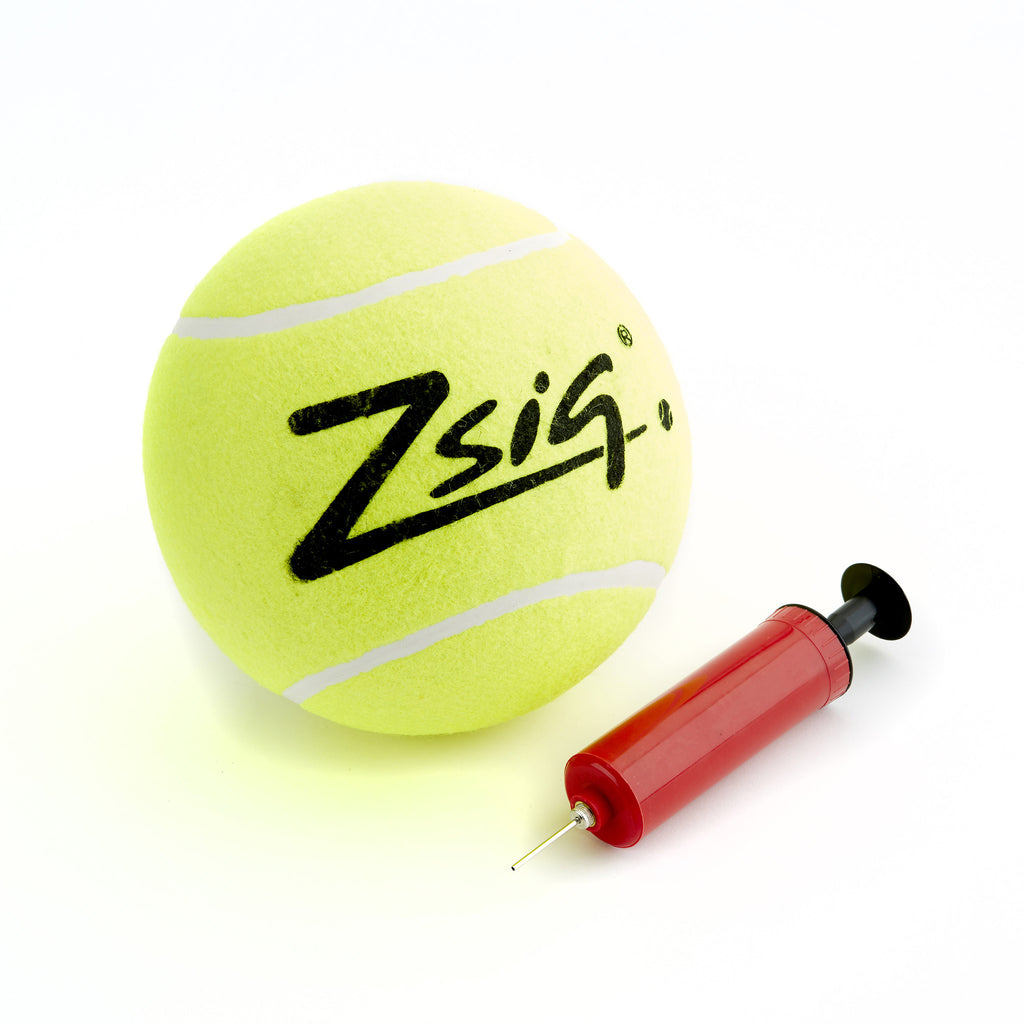 Jumbo Tennis Ball with a needle pump which can be used to inflate it - and other sports balls.