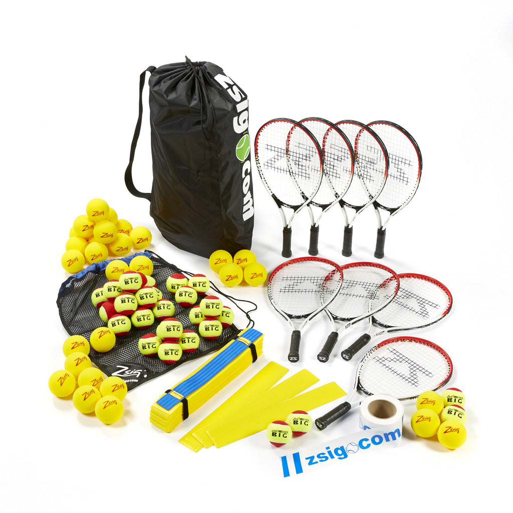 Mini Tennis Top-up coaching equipment set for schools - rackets, balls, handy carry bags and Throw Down Lines