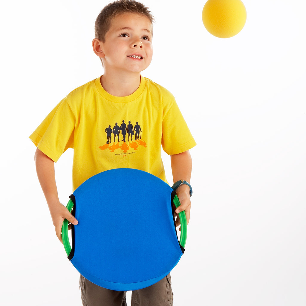 Early Years Coaching Aid. The reverse of the Easy Catch Happy Face is smooth and more challenging. Here, Owen shows how to volley using a sponge ball.