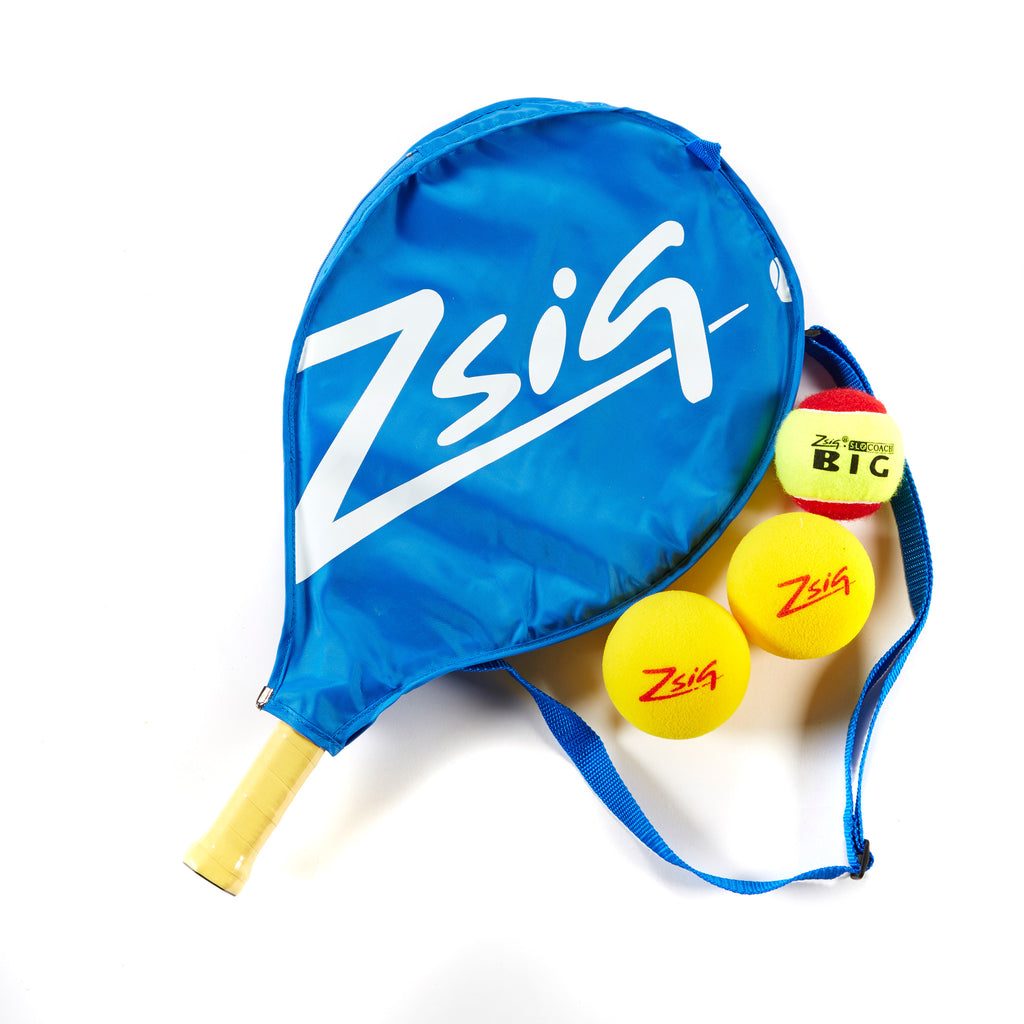 ZSIG 19 inch Mini Tennis Racket with headcover , 2 Advance sponge Mini Tennis Balls and 2 SLOcoach Red felt Mini Tennis Balll