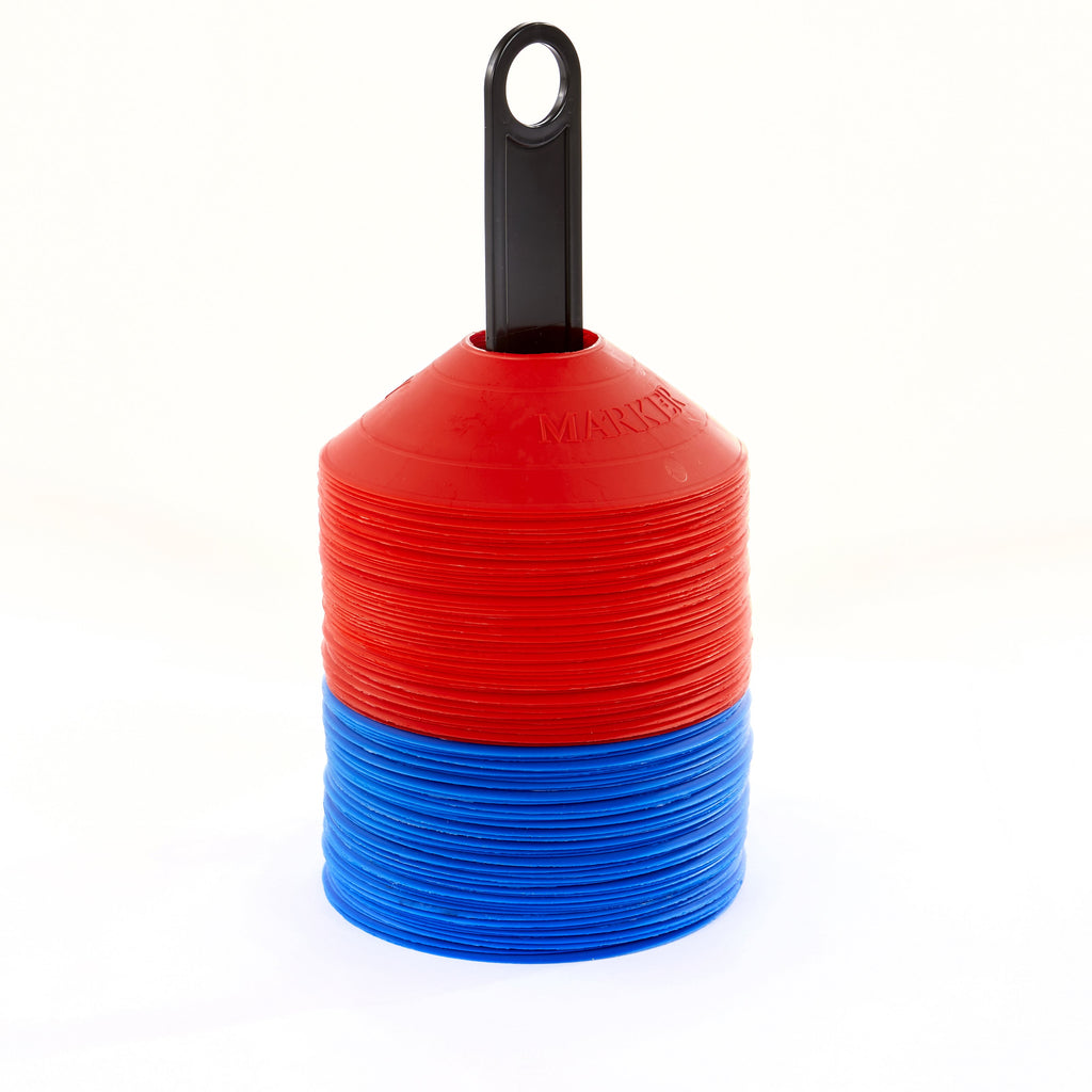 100 Safety Markers, Red & Blue, on a carry pole