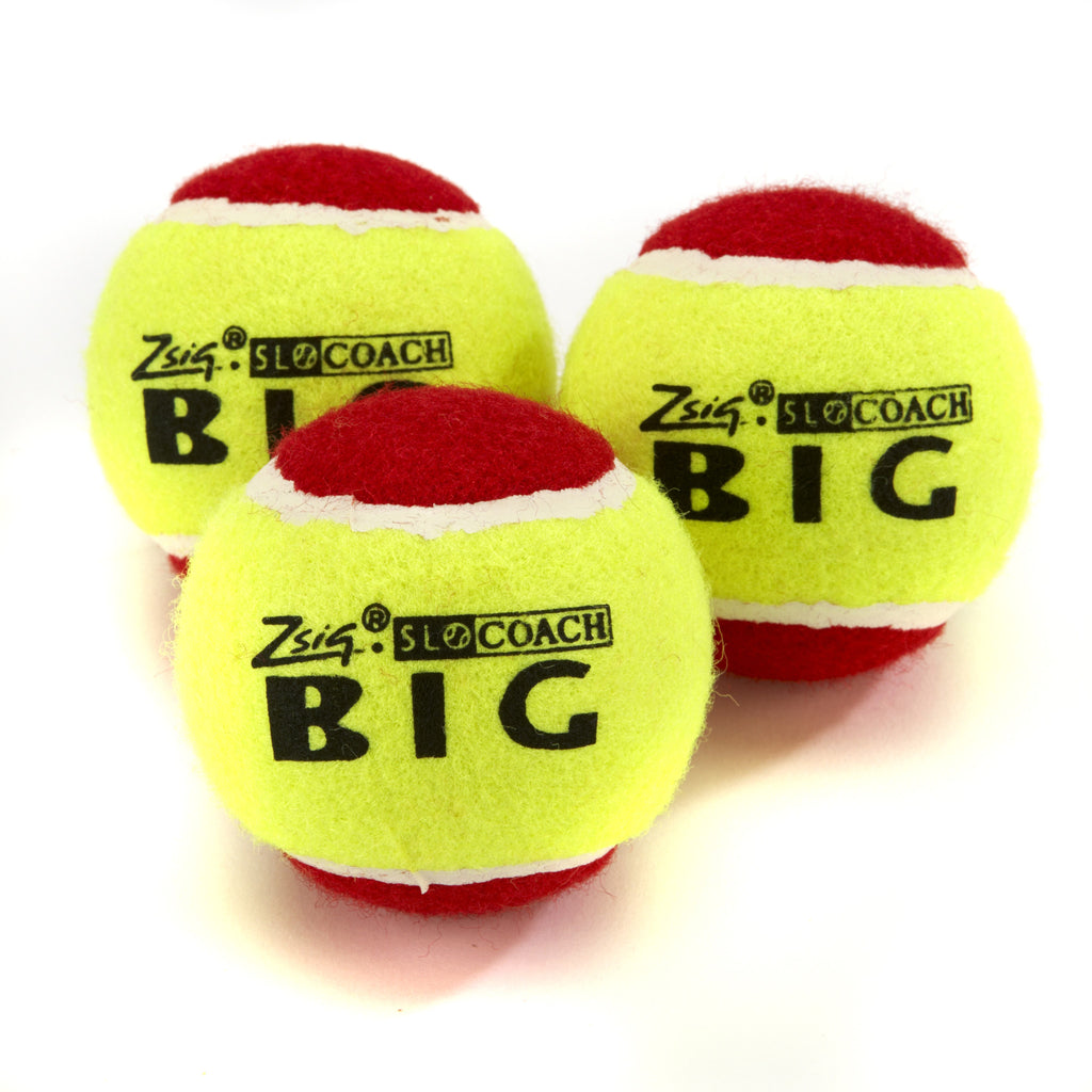 Three Zsig Mini Tennis Balls, Slocoach Big Red over-sized low compression ball
