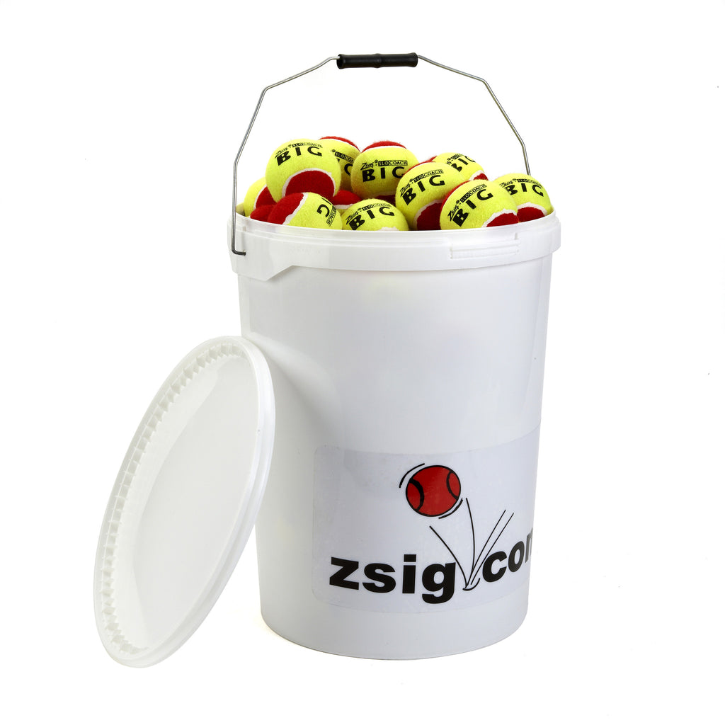 Mini Tennis Balls bucket of 6 dozen Slocoach Big Red balls from Zsig