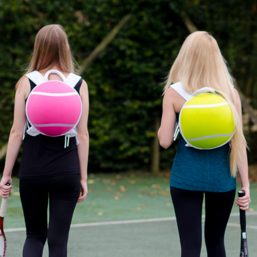 Tennis ace gift - tennis ball back packs, in yellow & pink