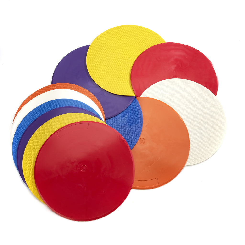 Flat disc markers make excellent safe tennis training aids for drills. Larger set of 12 Throw Down Spots.
