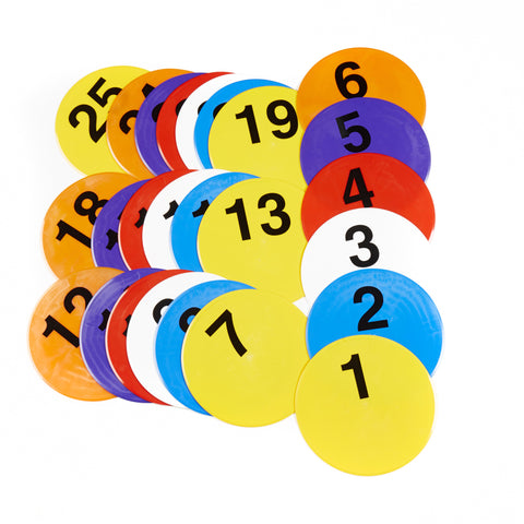 25 Early Years flat disc markers with numbers. Mixed bright colours, & nymbers 1-25.