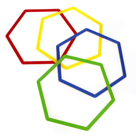 Set of 4 flat hexagon hoops for agility coaching or using as a flat marker