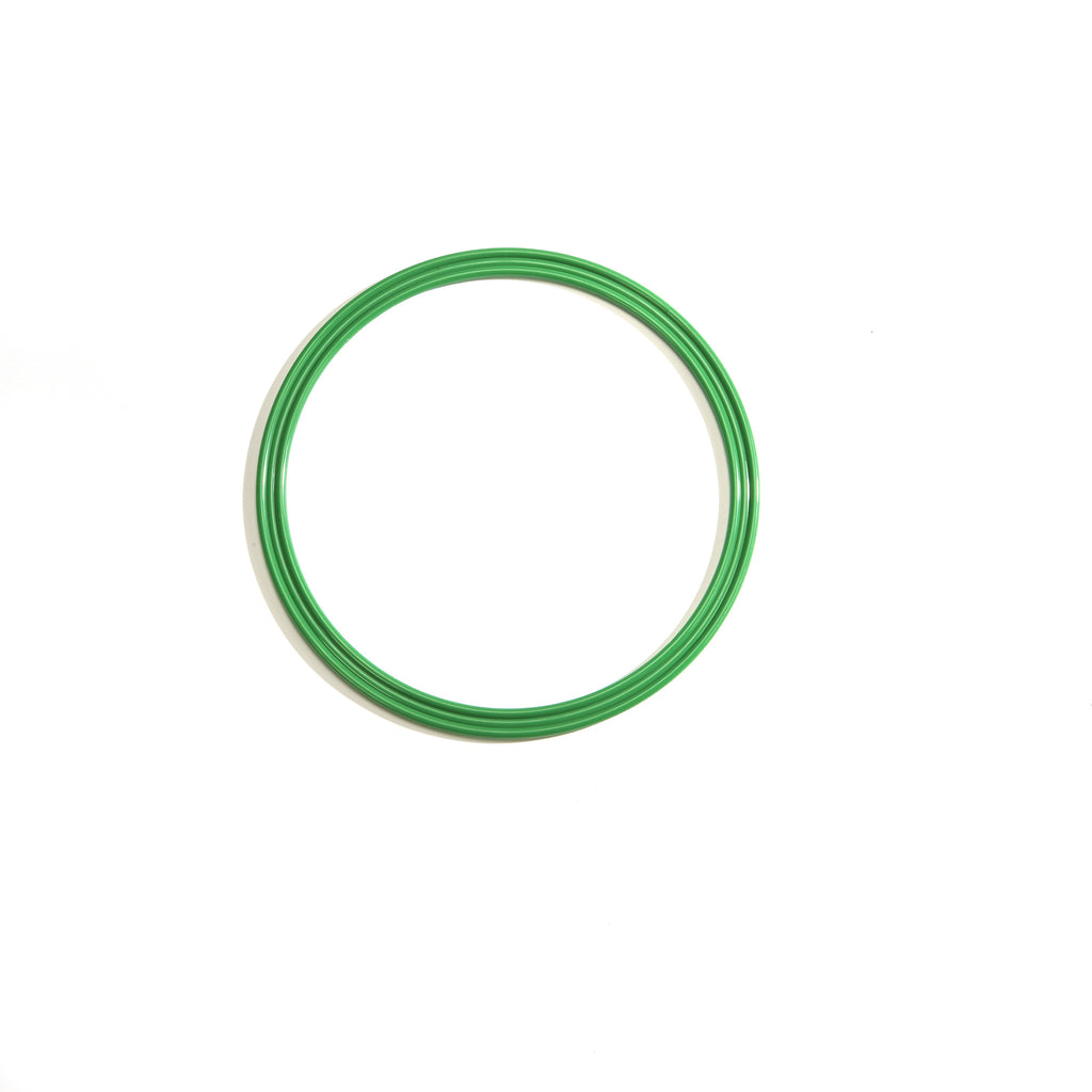 Small 30cm green flat hoop for sports coaching & training.