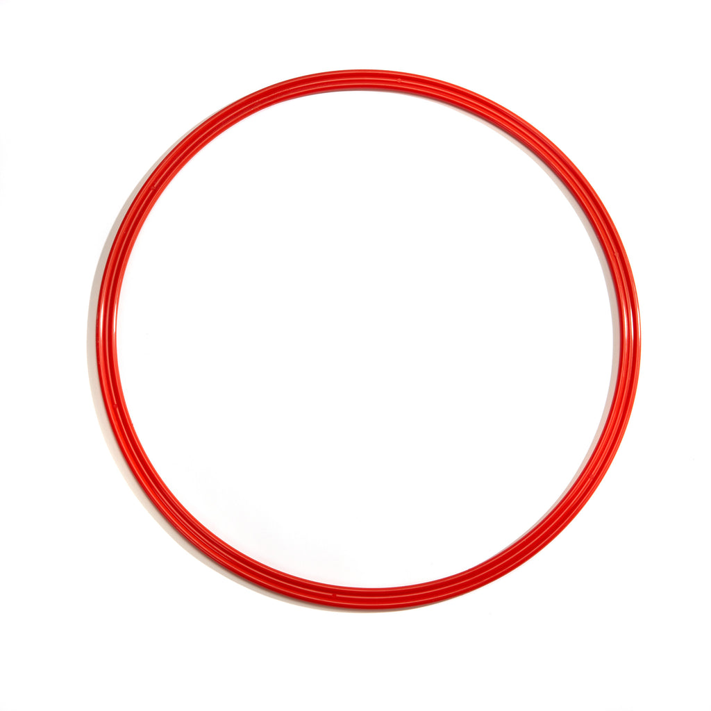Large red 50cm flat hoop for sports coaching & training.