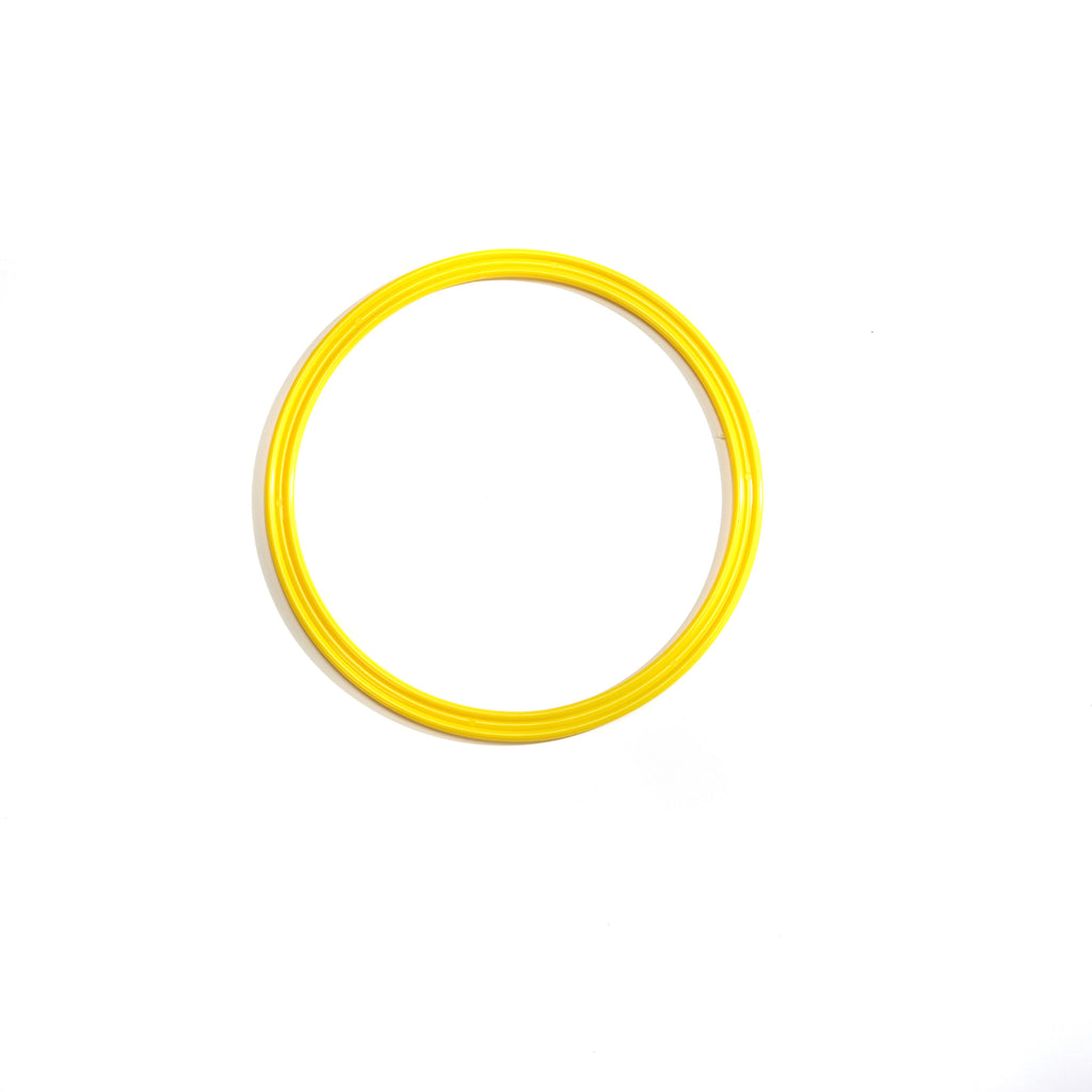 Yellow 30cm flat hoop for sports coaching and training.