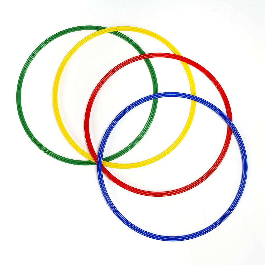 Four large size 50cm flat sports hoops in blue, red, yellow & green.