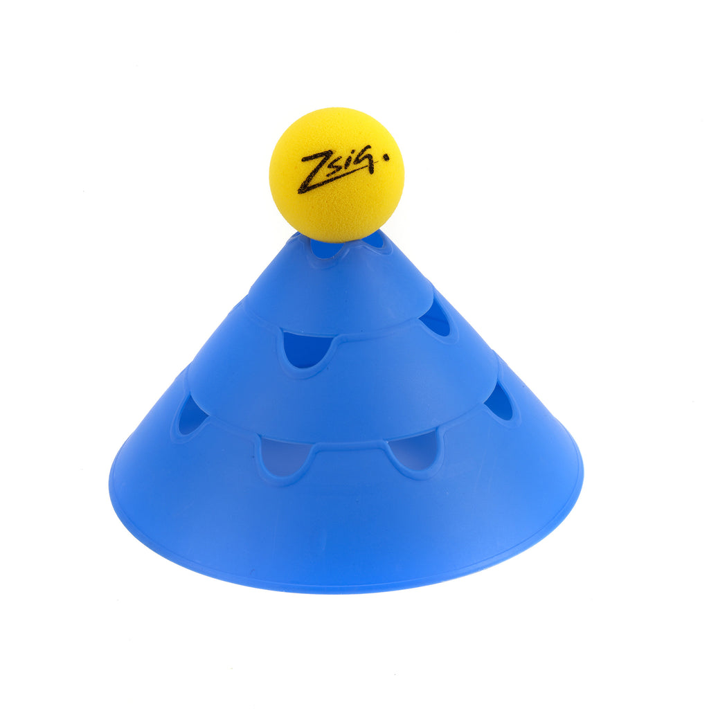 Blue Giant Sports Marker Cones. Ball supported on top for coaching retrieval drills.