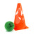 Collapsible sports marker cone for coaching & training. Bright orange single cone.