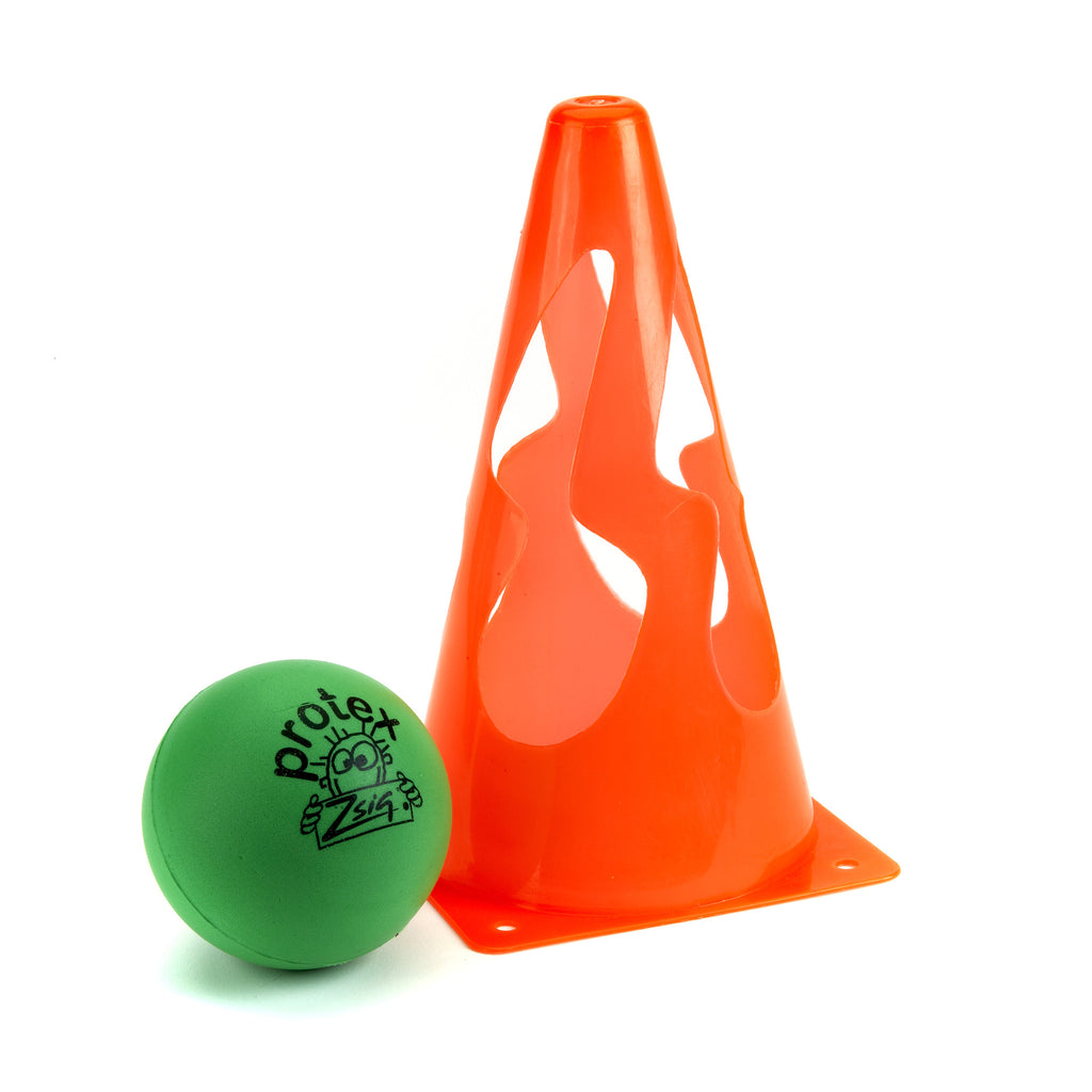 Single orange collapsible sports marker cone, next to a bright green Protex 9 sponge ball.