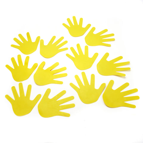 Early Years flat sports markers in the shape of little yellow hands.  Set of 12.
