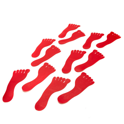 Early Years flat sports markers in the shape of cute little red feet. Textured underside.