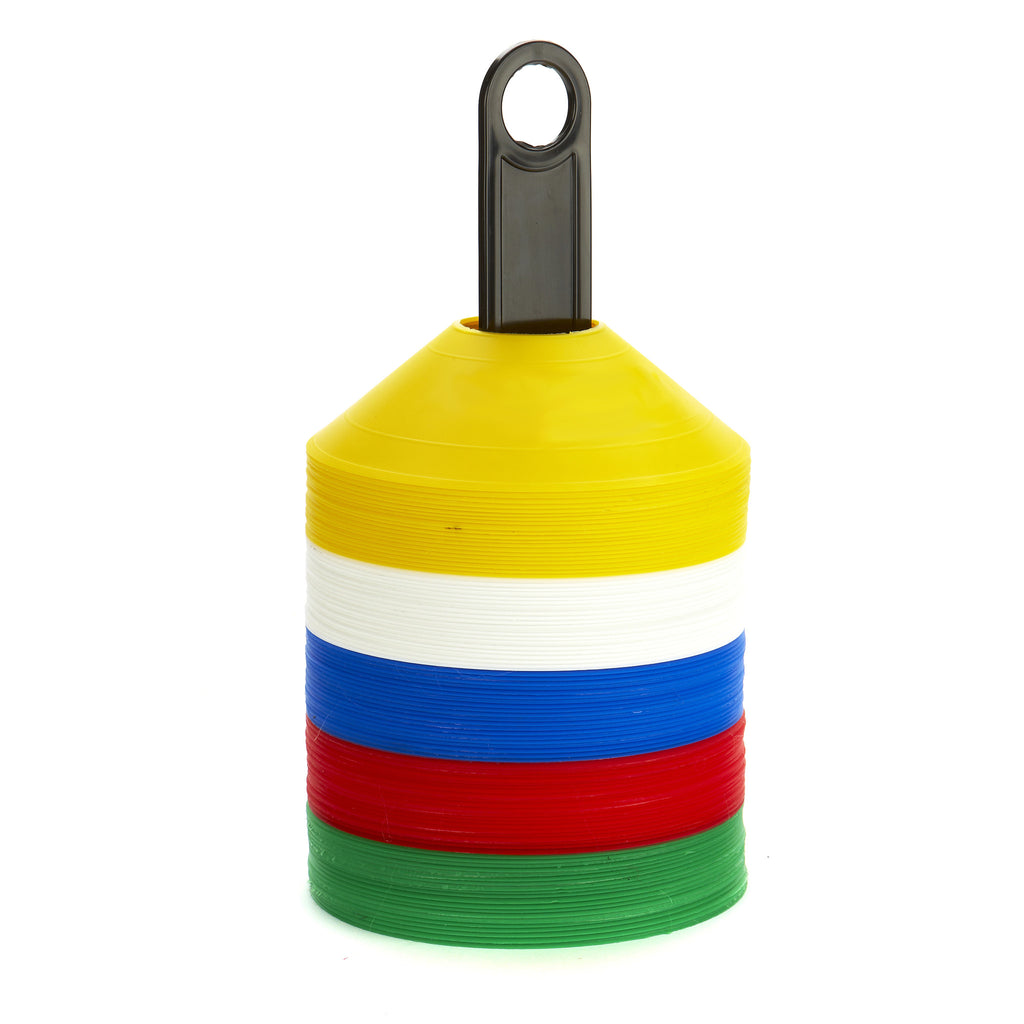 100 soft, safe, colourful Sports Markers on a handy carry pole. Bright yellow, white, blue, red & green markers.