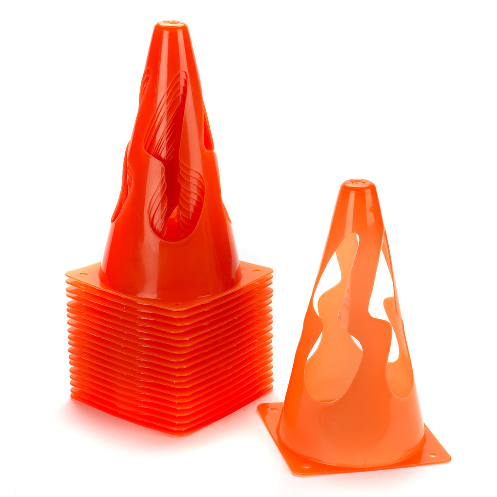 Set of 20 sports marker cones which collapse when trodden on making a safe option for children's classes.
