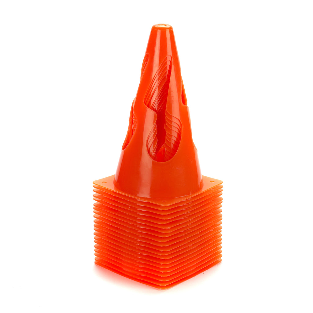 Set of 10 Pop Up Marker Cones. Bright orange collapsible safety cones for sports training.