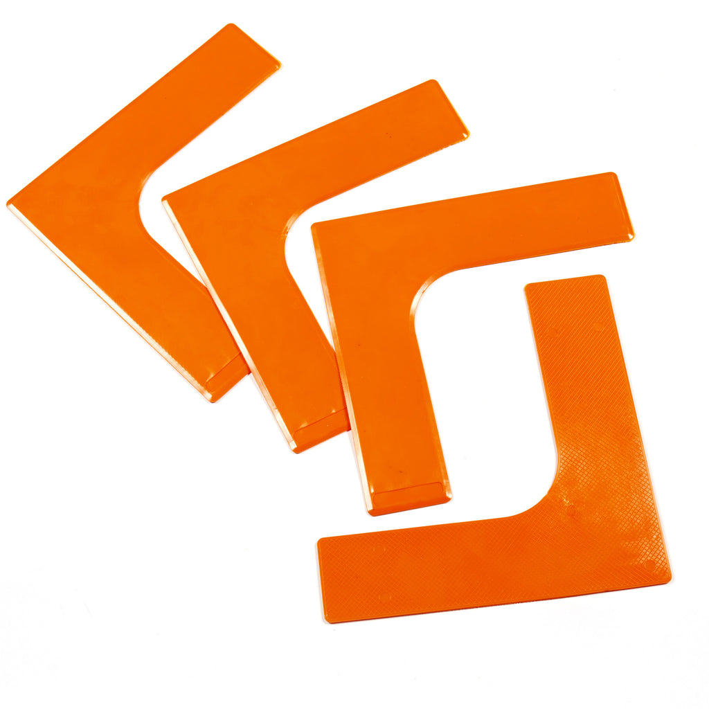 Set of 4 sports corner markers. Bright orange Throw Down tennis court or sports pitch markers.