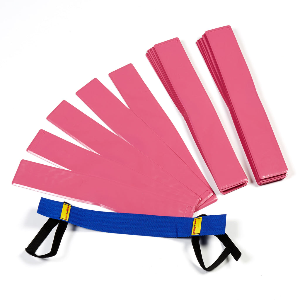 Quality UK-made sports marker lines 'Throw Down Lines' in a set of 48. Pink, with blue carry harness.