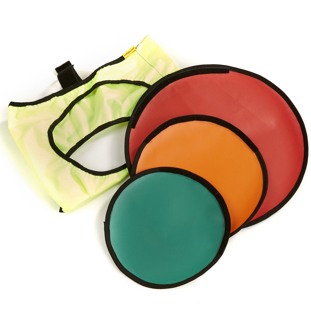 Portable Coaching Aid - Target Trainer folded coloured spot targets.