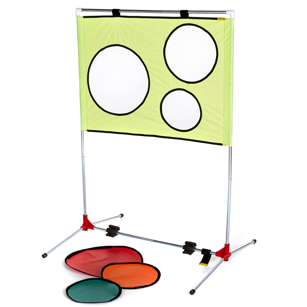 Multi-skills & coaching aid. Portable frame with removable coloured targets.