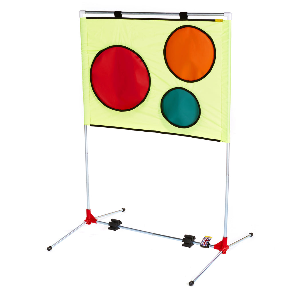 Tennis Coaching Aid. Portable frame with removable coloured spot targets.