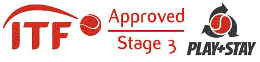 ITF Approved Stage 3 Play + Stay logo. Zsig's SLOcoach Big Red Mini Tennis Ball is ITF tested & approved.