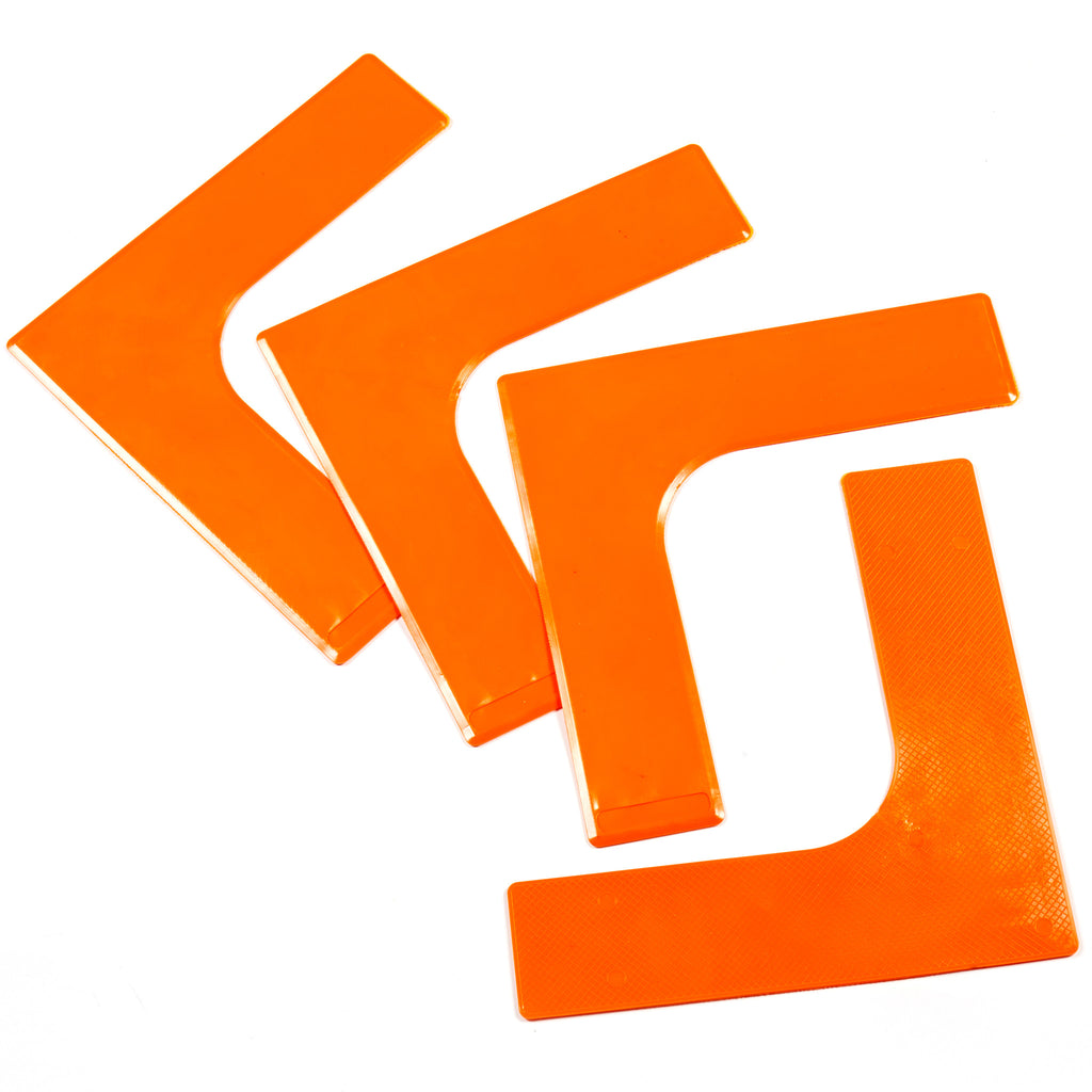 Throw Down Lines corner markers are bright orange, with textured underside & bevelled edges