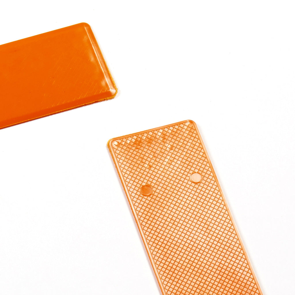 Uk-made sports marker lines corner markers with non-slip underside. Bright orange.