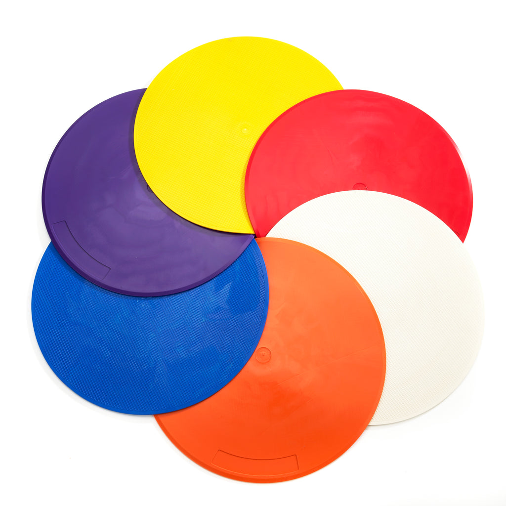 Zsig Throw Down Spots. Circular sports markers, set of 6. Bright colours, great quality, UK-made.