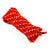 Bright red Junior Tug of War Rope, 8-braid with soft exterior, folded.