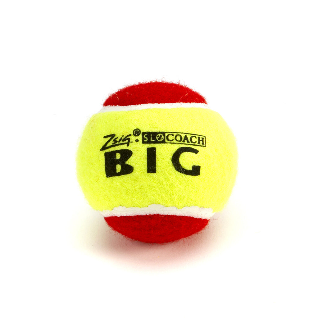 Red large sized Mini Tennis Ball SLOcoach Big Red. Slower and lower bounce for young children.