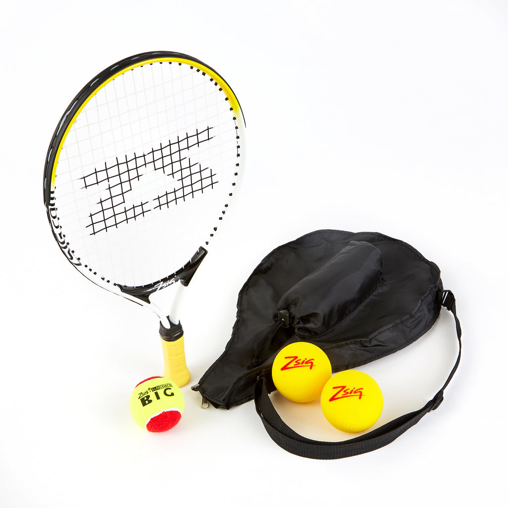 ZSIG 19 inch Mini tennis Racket with headcover, 2 Advance Mini Tennis Balls and 1 SLOcoach Big Red Mini tennis ball