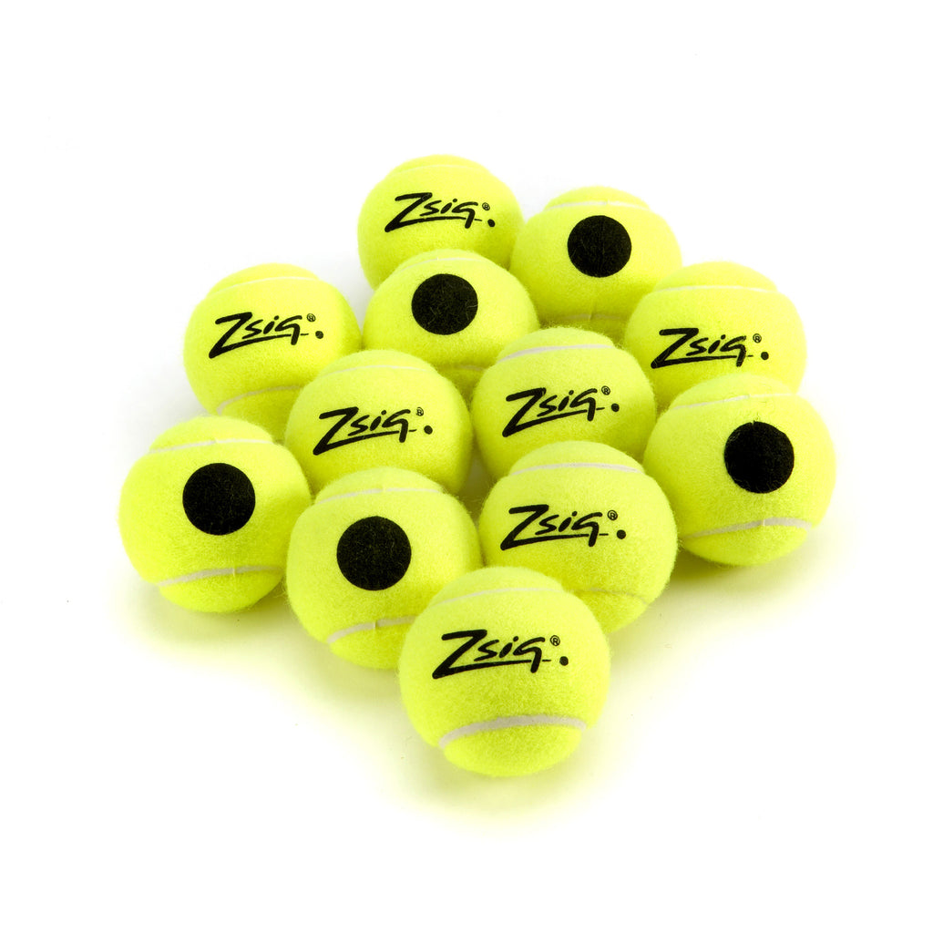 Zsig yellow coaching balls with Black Dot for easy ID