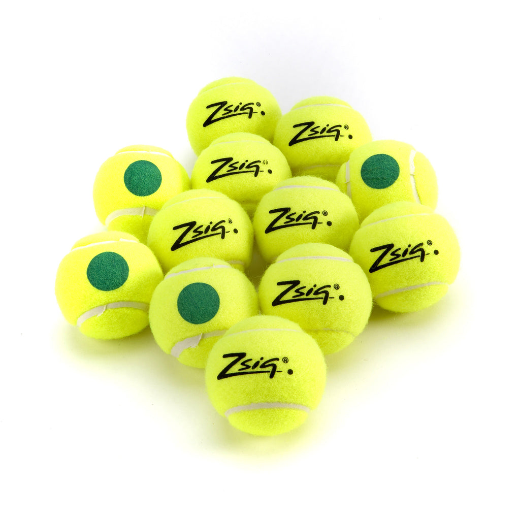 Green Dot Mini Tennis Balls. 1 Dozen balls.