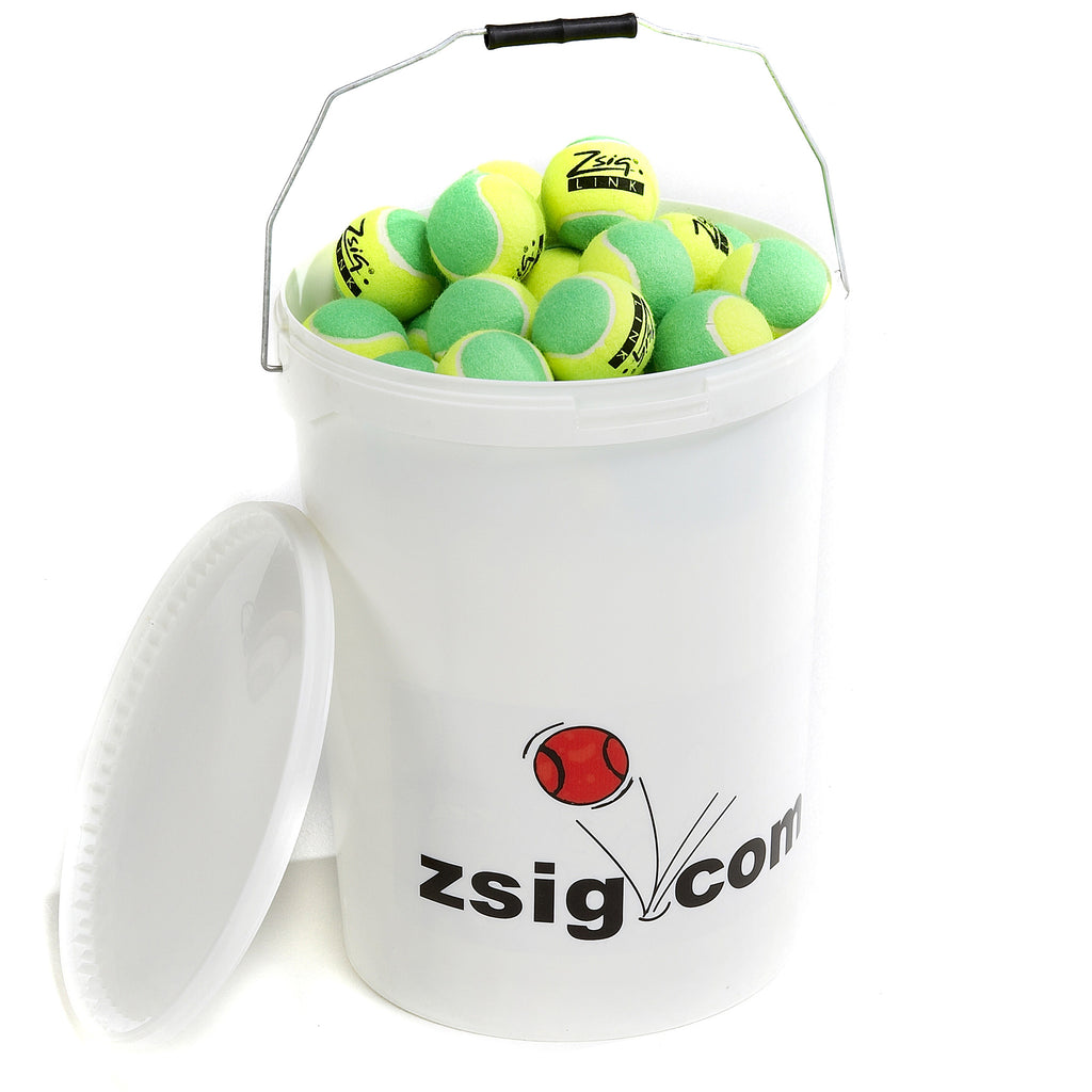 "Green Mini Tennis Balls. Zsig ""Link Green"", bucket of 8 dozen balls."