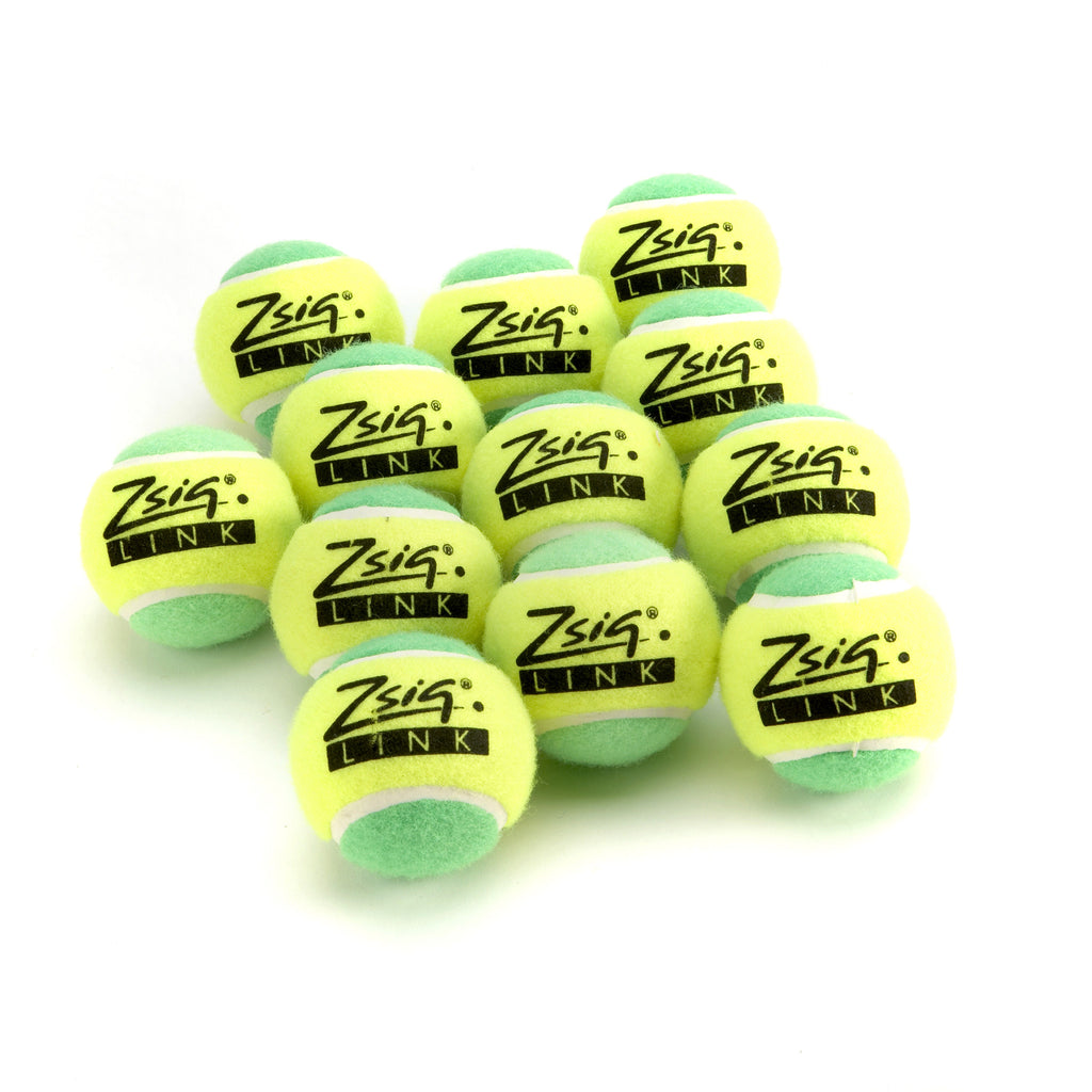 "Green Mini Tennis Balls. Zsig ""Link Green"", a dozen balls."