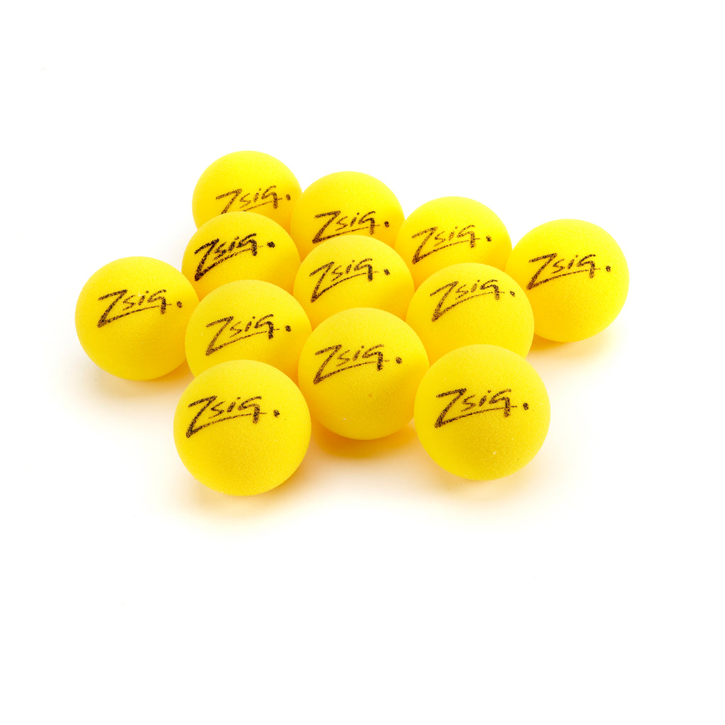 A dozen Zsig Matchplay 8cm cut foam Mini Tennis Balls