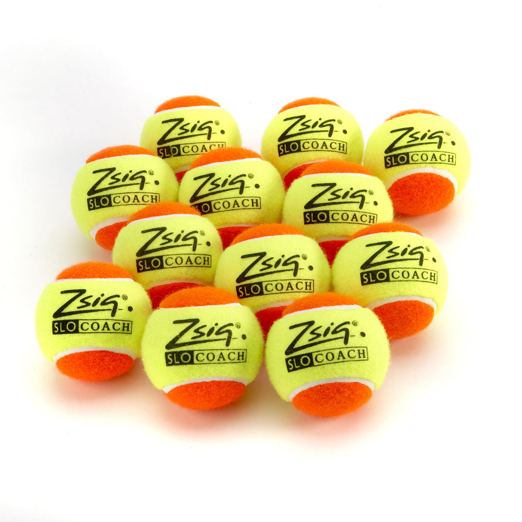 A dozen Zsig Slocoach Orange Mini Tennis Balls