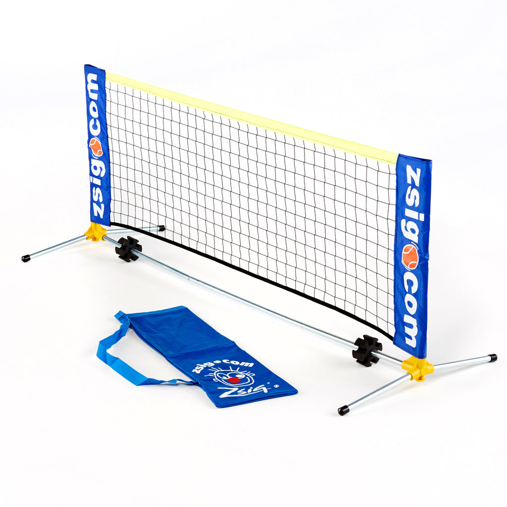 Mini Tennis Net for Early Years from Zsig. 1.8m. Carry holdall. Patented shoulder joint in yellow. Easy to set up, easily portable & Made in Britain high quality design.