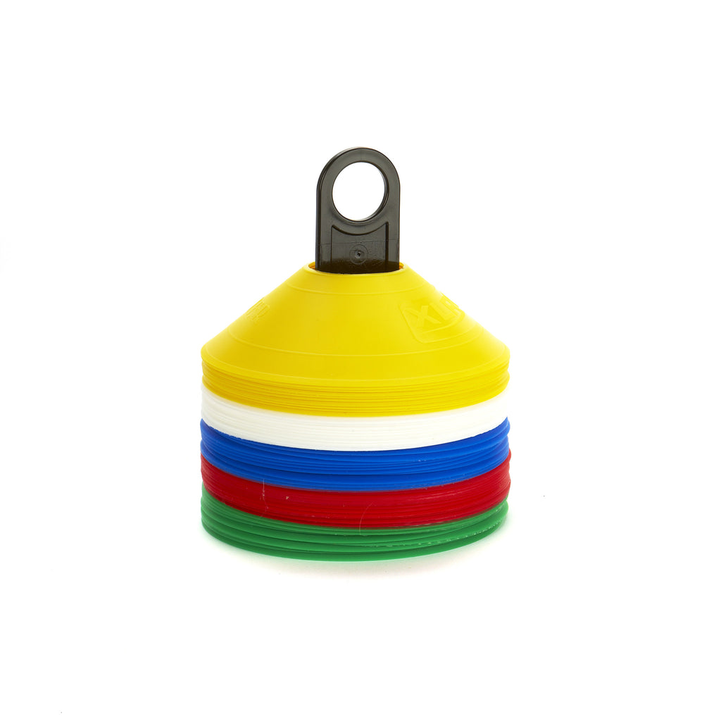 Tennis Safety Marker Cones. Bright colours, low profile, soft plastic, & 50 here on a handy carry pole.